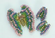 Rare 1950's Miriam Haskell Beaded Butterfly Earrings Brooch Set