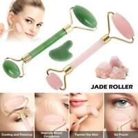 Natural Rose Quartz Stone Guasha Facial Face Neck Body Gua Sha Board Massager-AU