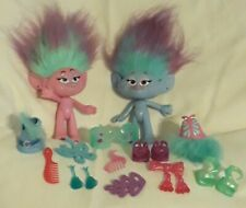 "18 Piece 9"" Twin Chenille & Satin Troll Dolls w/ Accessories  Hasbro 2015"