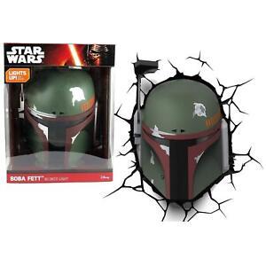 NEW 3D FX Star Wars boba fett helmet Deco LED Night Light+Crack Wall Sticker
