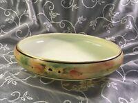 "Rare 1910s Yellow Custard Handpainted Glass 8-1/2""  Floral Bowl Cambridge Glass?"