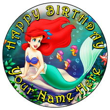 """LITTLE MERMAID ARIEL PARTY - 7.5"""" PERSONALISED ROUND EDIBLE ICING CAKE TOPPER"""