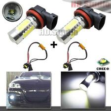 2pcs HID White Error Free H11 H8 CREE COB LED Bulbs Fog Lights + Canbus Decoders