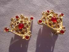 "Goldplated signed SARAH COV ""SERENADE"" red 16 gram 26mm filigree clip earrings"