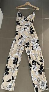 Dotti Cream Black White Cross Over Jumpsuit Size 10