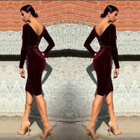 Lady Women's Sexy Velvet Bodycon Slim Backless Long Sleeve Party Cocktail Dress
