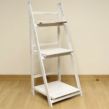 3 Tier White Wash Ladder Shelf Display Unit Free Standing/Folding Book Shelves