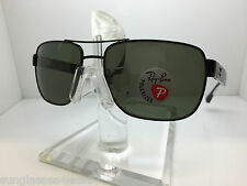 AUTHENTIC RAYBAN  RB 3530 002/9A BLACK/GREEN POLARIZED LENS 58MM