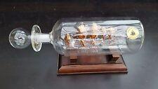 Ship In A Bottle Mayflower Glass Portuguese Man Of War 22 Carat Gold + Plinth