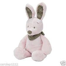 Nicotoy Doudou lapin rose écharpe taupe Peluche bébé fille 40 cm Neuf étiqueté