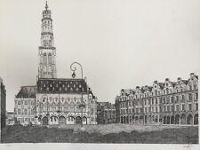 Christophe LABORDE.La place des Héros à Arras.1986.Eau-forte.SBD.10/50.45x59.