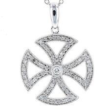 UNIQUE IRON CROSS 14K DIAMOND PENDANT WITH CHAIN NECKLACE NEW!