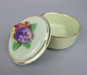Vintage Crown China Crafts Porcelain Flower Trinket Box. Green. Pansies. 3""