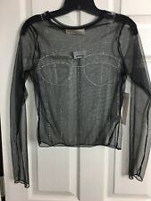 NWT Twinkle Size Medium Black Sheer Bling Bustier Long Sleeve Top