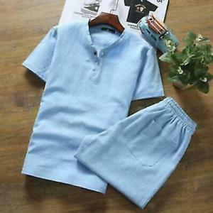 2Pc Summer Mens Cotton Linen Sets T-Shirt Shorts Casual Tops Cropped Pants Sport