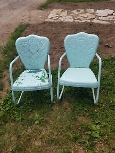 Vintage Metal Outdoor Lawn Chair Set of 2. Embossed hearts. Rocking chairs.