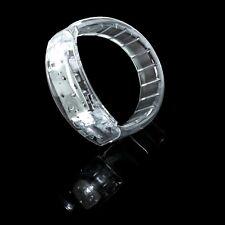White Light Up LED Bracelet Flashing Glow Wrist Band Voice Blinking Party Fun UK