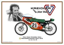 Print on Canvas Van Veen Kreidler 50cc 1973 #21 Jan de Vries WC White 80 x 60