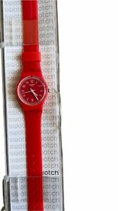 NOS SWATCH Women Red Pretty Sexy Red Dial Red Silicone Ladies Watch LR127 Case