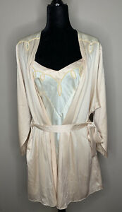 VTG Victoria's Secret Robe Chemise Nightgown Set Bridal Satin Gold Label Small S