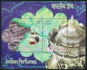 India 2019 MNH SS, Perfumes, unusual Odd stamp Agar Wood Fragrance, Flowers