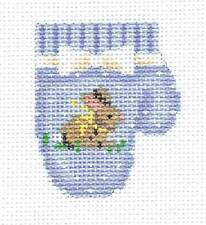 Baby Boy Blue Mitten with Bunny handpainted Needlepoint Ornament by A. Talents