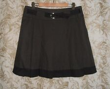 PORTMANS Sz 14 NWT taupe brown houndstooth pleated blocked hem Skirt RRP $99.95