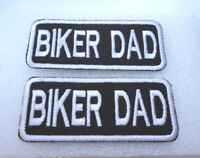 P2 2 x Biker Dad Motorcycle Motorbike Iron on Patch Father FREE UK POST
