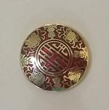 "CLOISONNE RED GOLD ASIAN DESIGN SHANK VINTAGE BUTTONS by E. Duerr 5/8""(B17)"
