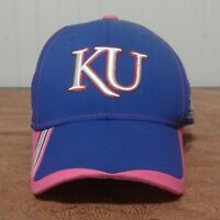 Adidas KU Jayhawks University Of Kansas Pink Ribbon, Blue/Pink Ball Cap Hat L/XL