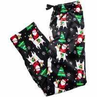 Womens Holiday Santa Riding Llama Pajama Pants  Black Plush Sleep Lounge Large