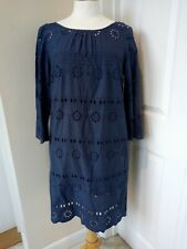Crew Clothing Co Dress UK Size 12 Navy Broderie Anglaise