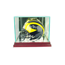 Glass Mini Football Helmet Display Case with Mirror Back - Cherry