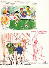 LEROY NEIMAN BOOK PLATE PRINT SKETCHES OF JOCKEYS BEFORE THE RACE AT LEISURE