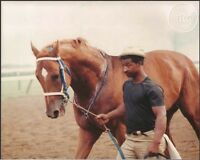 SECRETARIAT - ORIGINAL 1973 SARATOGA PHOTO WITH EDDIE SWEAT!