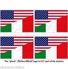 USA Uni Unis Amérique & ITALIE Drapeau 50mm Autocollants , Stickers x4