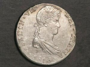 PERU 1815JP 8 Reales Silver Crown XF-AU