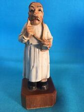 vintage Anri Italy wooden carved caricature doctor w stethoscope & large finger