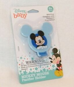 New Disney Baby . Mickey Mouse Pacifier Holder . BPA-Free . Blue . 0+ Months