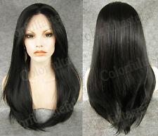 Sexy Schwarz Vordere Spitzen Perücken Lang Glatt HaarPerücke Mode Lace Front Wig