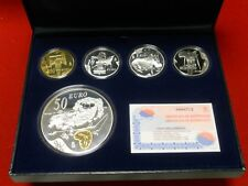 ESPAÑA 10+50+400 EUROS 2004 EUGENIO SALVADOR DALI 5 Monedas PLATA ORO PROOF SET