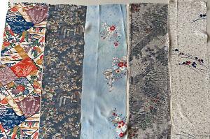 Vintage Japanese Silk Kimono Fabric|Quilting Fabric Remnants Lot 988 AUS stock