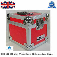 "2 X NEO Aluminium RED DJ Flight Case to Store 100 Vinyl Single 7"" Records STRONG"