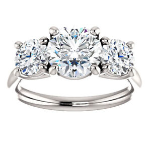 3.00 TCW Round Cut Moissanite Three-Stone Engagement Ring 14K White Gold Plated