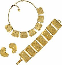 Leru Vintage Goldtone & Rhinestone Necklace Bracelet & Earrings Parure Set