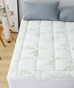 Bamboo Mattress Pad-Overfilled Extra Plush Topper Hypoallergenic Breathable Flow