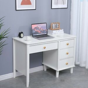 Makeup Vanity Table And Modern Computer Desk With Storage Compartments White