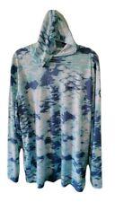 Magellan Men's XXL Long Sleeve Hoodie Semi Fitted Fish Print Hooded Shirt