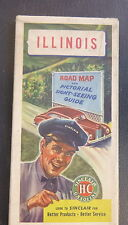 1947 Illinois  road  map Sinclair  oil gas pictorial guide