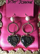 Betsey Johnson Vintage Python Snake Skin Lucite Heart Pearl Gold Earrings RARE